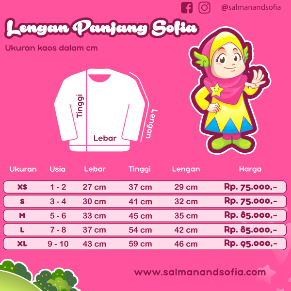 salman sofia size chart